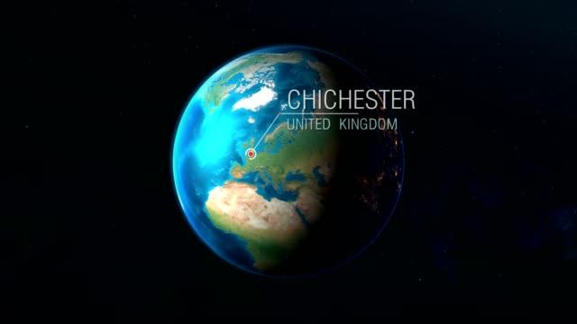 regno unito - chichester - zoom dallo spazio alla terra - sussex occidentale video stock e b–roll