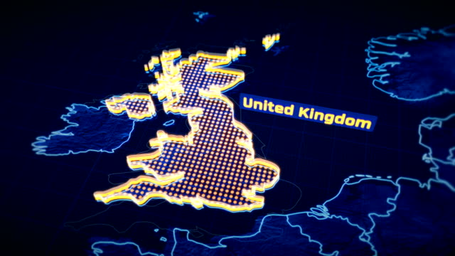 United Kingdom country border 3D visualization, modern map outline, travel United Kingdom country border 3D visualization, modern map outline, travel uk border stock videos & royalty-free footage