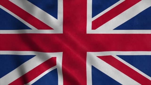 United Kingdom flag waving in the wind. 4K