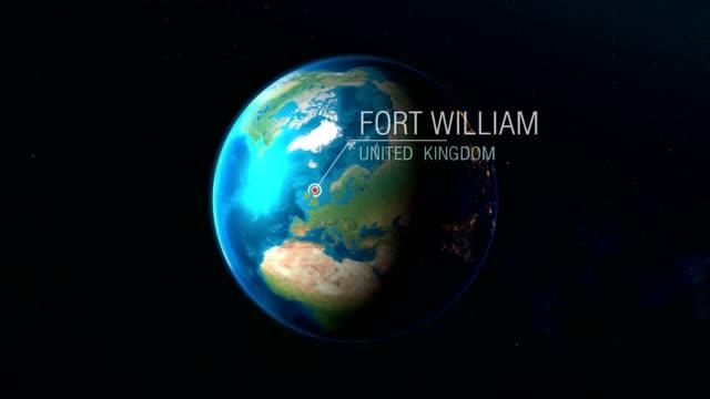 regno unito - fort william - zoom dallo spazio alla terra - fort william video stock e b–roll