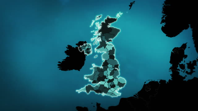 United Kingdom map with Administrative Units, Airports and Roads. Blue. video