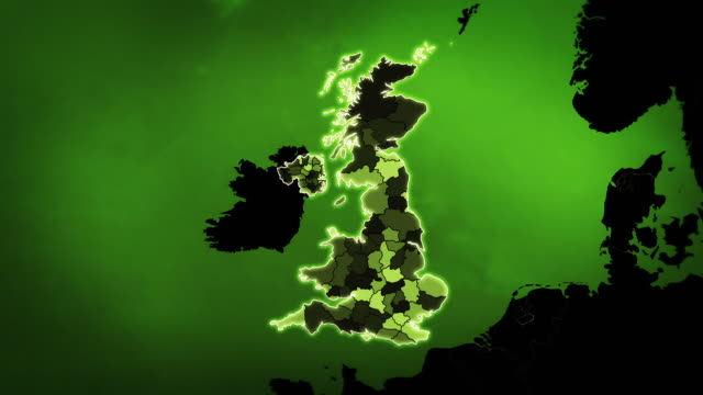 United Kingdom map with Administrative Units, Airports and Roads. Green.  uk map stock videos & royalty-free footage