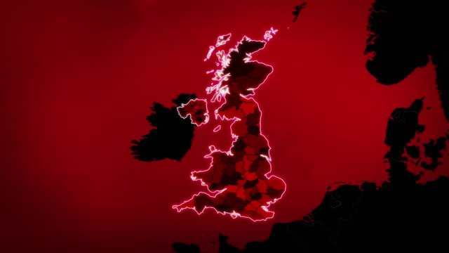 United Kingdom map with Administrative Units, Airports and Roads. Red. Highly detailed United Kingdom map showing: Administrative Units, airports and routes. This video is entirely loopable and also has 2 loopable sequences from frame 80 to 460 and from 461 to 804. Full HD. Animation created exclusively for iStockphoto. uk map stock videos & royalty-free footage