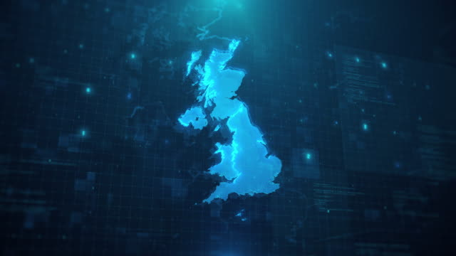 United Kingdom Map with regions against blue animated background 4k UHD UK Map with regions against blue animated background 4k UHD uk border stock videos & royalty-free footage