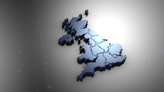 3D United Kingdom - Metal 3D animation map east stock videos & royalty-free footage