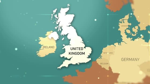 united kingdom on world map stock video - sud est video stock e b–roll