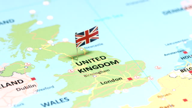 United Kingdom with National Flag