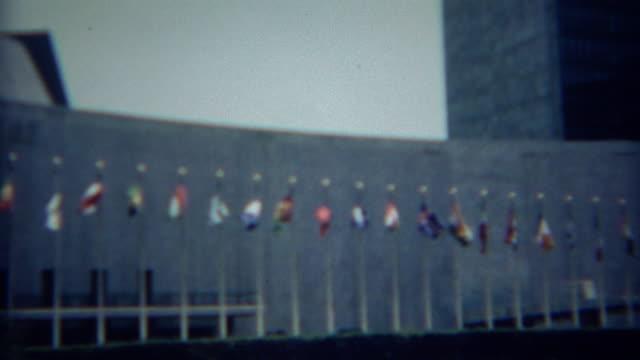 1968: United Nations international organization headquarters building. video