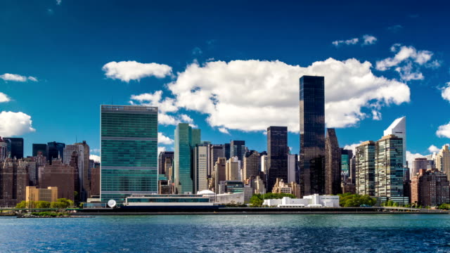 United Nations on the East River in NYC video