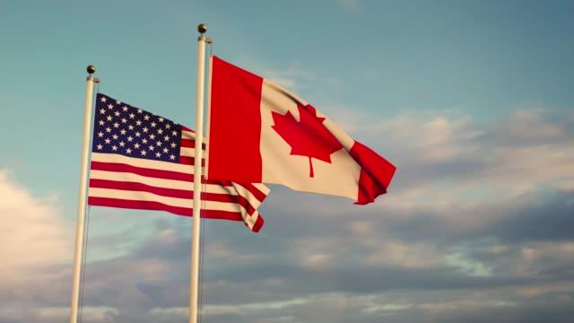 flagi stanów zjednoczonych i kanady przedstawiające amerykańską przyjaźń, umowy i jedność. - american flag filmów i materiałów b-roll