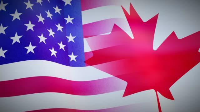 die flaggen der vereinigten staaten und kanadas zeigen amerikanische freundschaft, abkommen und einheit. - vancouver kanada stock-videos und b-roll-filmmaterial