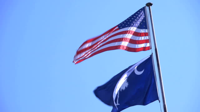 United States and South Carolina Flags The United States flag above a South Carolina flag blowing in the wind. south carolina stock videos & royalty-free footage