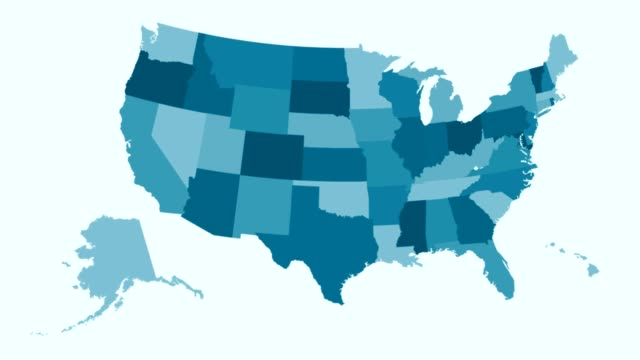 United States - Blue tone animated country map