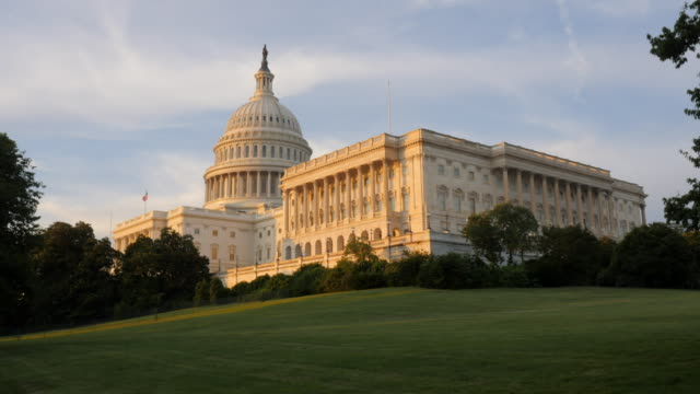 United States Capitol During Sunset