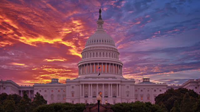 United States Capitolю Sinister view. Sunrise.
