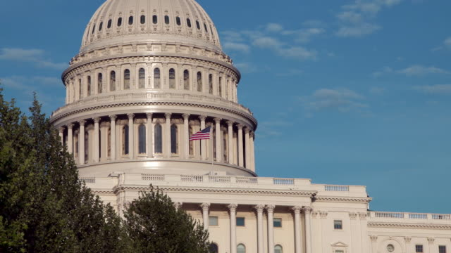 United States Capitol West Dome Close Up with American Flag in Washington, DC