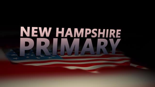 vidéos et rushes de graphiques de motion d'élection cinématographique des états-unis- version primaire du new hampshire - démocratie