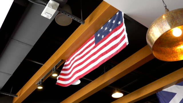 United States flag under the ceiling in 4K slow motion video