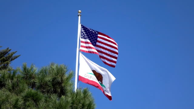 United States flag waving in the wind in slow motion 120fps video