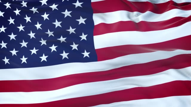 United States flag waving in the wind with highly detailed fabric texture. Seamless loop