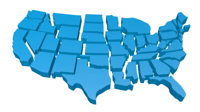 3D United States of America map Three-dimensional USA map with states' borders. Source of the map used for reference: http://www.lib.utexas.edu/maps/united_states/us_general_reference_map-2003.pdf california map stock videos & royalty-free footage
