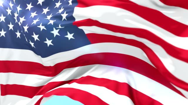 미국 국기를 흔들며의 미국 루프 - american flag 스톡 비디오 및 b-롤 화면