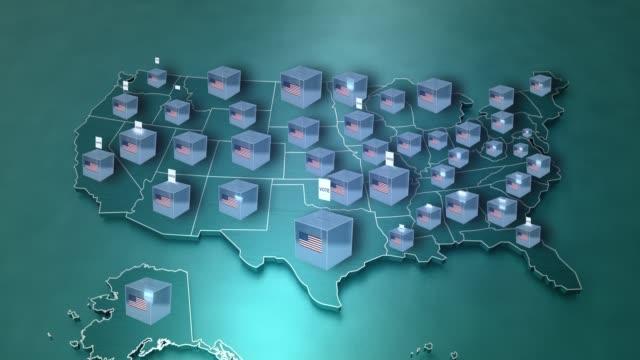 birleşik devletler başkanlık seçimi. abd haritası ve oy animasyonu (döngülenebilir) - election stok videoları ve detay görüntü çekimi