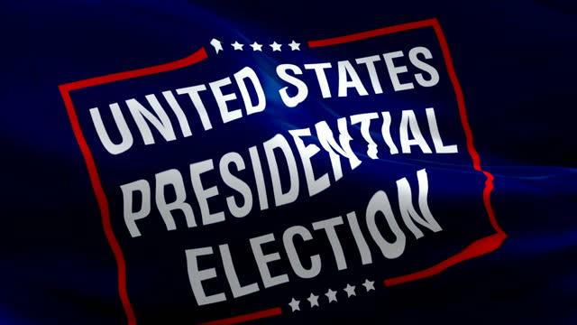 wybory prezydenckie w stanach zjednoczonych usa flaga wideo macha wiatrem.  wybory prezydenta białego domu tło flagi. biały dom głosować na wybory prezydenta flaga białego domu. wybory w stanach zjednoczonych flaga - white house filmów i materiałów b-roll