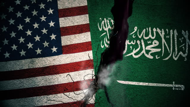 United States vs Saudi Arabia Flags on Cracked Wall video