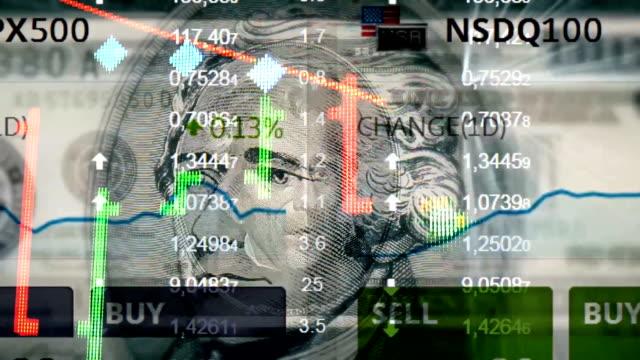 Universal USA Preis Börsenkurse und Diagramm dynamisch animierte Bewegung Videomaterial mit Menschen Präsident (nicht Trumpf, nicht Obama) einzigartige Qualität animierte Bewegung nahtlose Schleife öffnen – Video