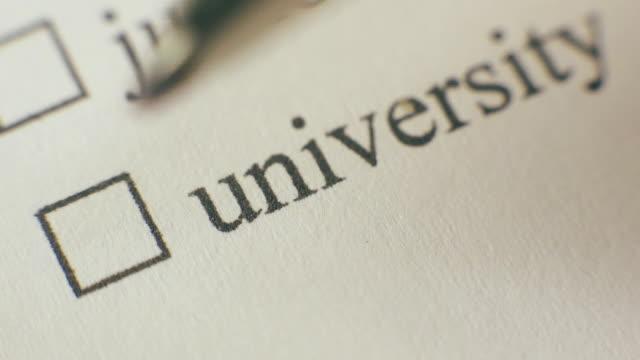University Checkbox Marking Survey video