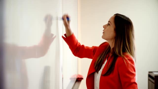 University professor teaches using whiteboard