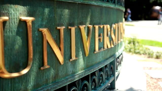 Gros plan du panneau de l'Université - Vidéo