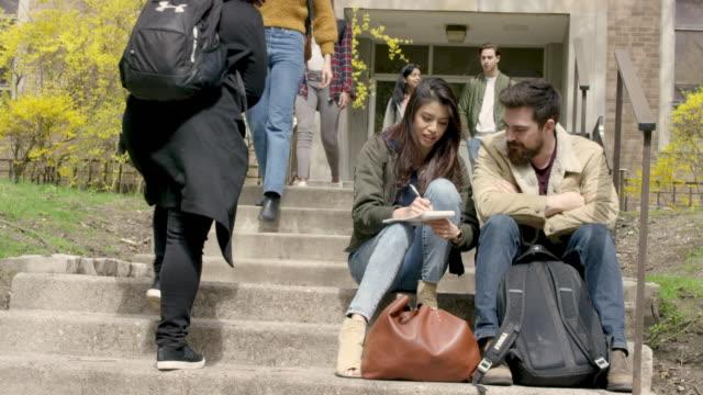 Video University Students Studying Outside