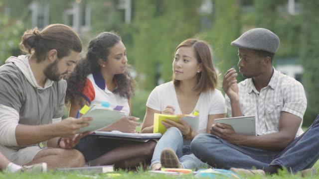 university study group - studente universitario video stock e b–roll