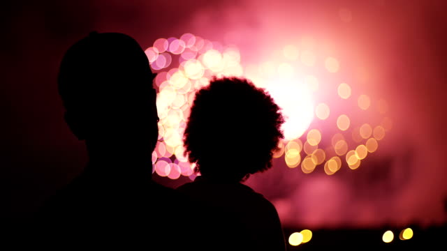 Unrecognizable family watching fireworks video