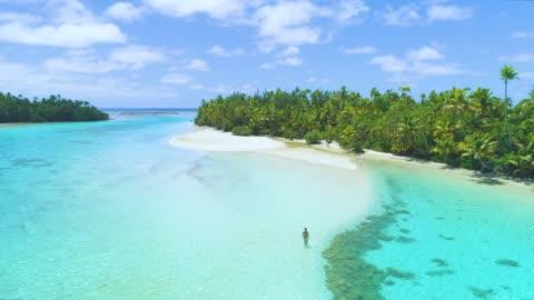 drone: ragazza irriconoscibile in bikini che cammina verso la lussureggiante isola tropicale. - idillio video stock e b–roll