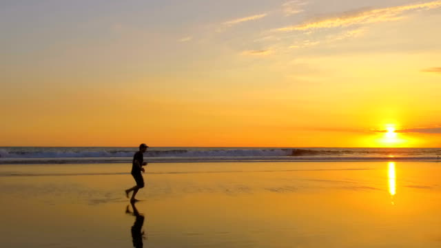 SLOW MOTION Unrecognizable man running along smooth sandy beach at golden sunset video