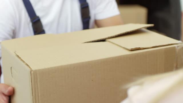 Femme méconnaissable donnant boîte à mâle Mover - Vidéo