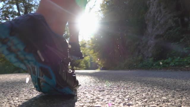 slow motion, närbild: oigenkännlig kvinna i sneakers jogging med liten hund. - hund skog bildbanksvideor och videomaterial från bakom kulisserna