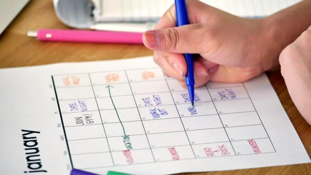 Unrecognizable woman schedules New Year's resolutions in her calendar