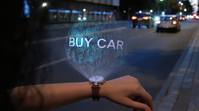 Unrecognizable woman with hologram Buy car