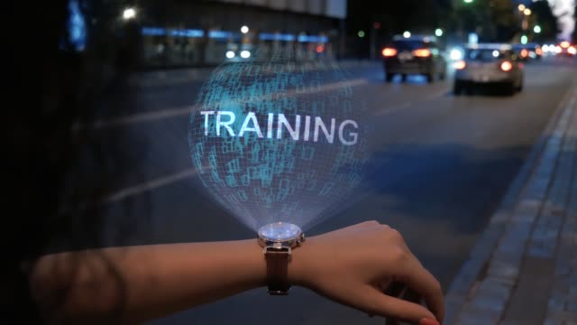 Unrecognizable woman with hologram Training