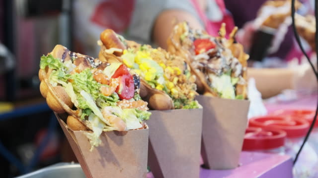 Unusual Colorful Sweet and Salty Shawarma on Display Case. Festival Street Food