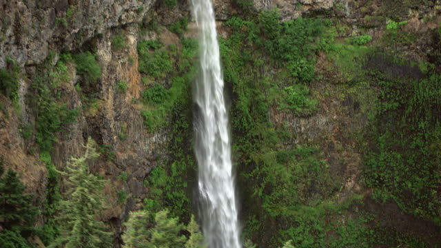 AERIAL Up the Multnomah Falls waterfall in Oregon