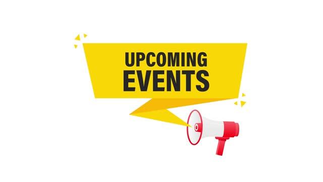 stockvideo's en b-roll-footage met aankomende evenementen megafoon gele banner in 3d-stijl op witte achtergrond. bewegende afbeeldingen. - aankondigingsbericht