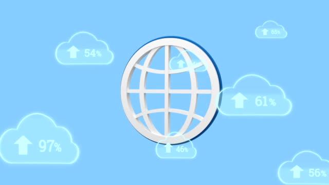 Upload progress clouds and globe icon