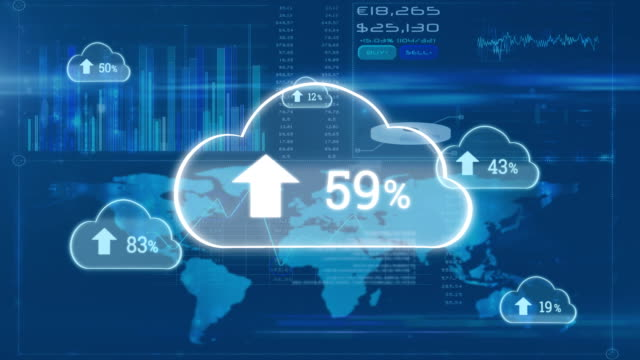 Upload progress clouds and interface with world map and graph Digital animation of upload progress percentage in clouds with background of an interface with world map and graphs growth icon stock videos & royalty-free footage