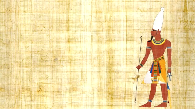 Upper Egypt Pharaoh On A Papyrus Background video