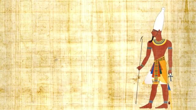 パピルスの背景に上エジプトのファラオ - 過ぎ越しの祭り点の映像素材/bロール